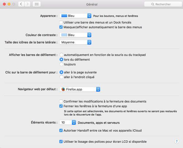 Capture d'écran - Préférences générales sous El Capitan