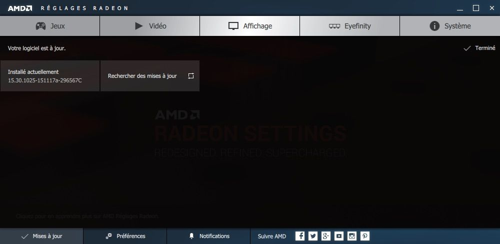 Capture d'écran - AMD Radeon Paramètres