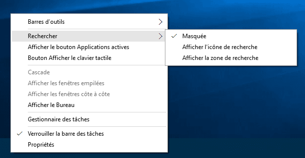 Capture d'écran - Masquer la barre de recherche de la barre des tâches sous Windows 10