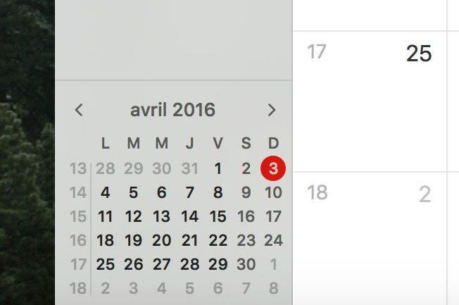 Capture d'écran - Mini calendrier avec numéros de semaine