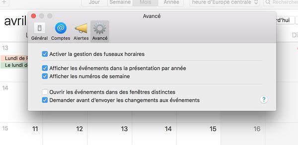 Capture d'écran - Options avancées de Calendrier sous MacOS X