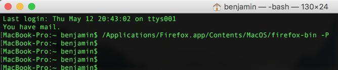 Capture d'écran - Terminal MacOS X, ouverture de l'utilitaire de gestion des profils Firefox