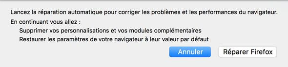 Capture d'écran - Fenêtre de confirmation de Réparation de Firefox