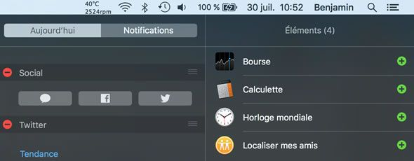 Capture d'écran - Widget Social Mac