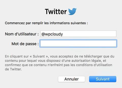 Capture d'écran - Ajout d'un compte Twitter, Widget Social Mac