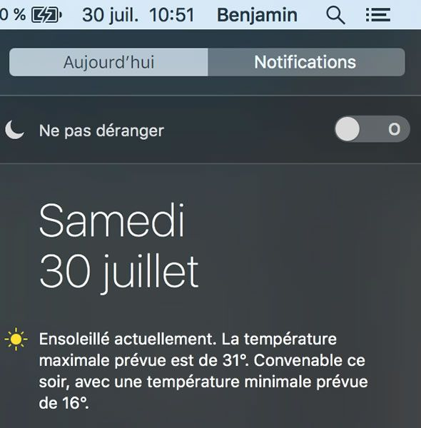 Capture d'écran - Widgets MacOS de la zone de notifications