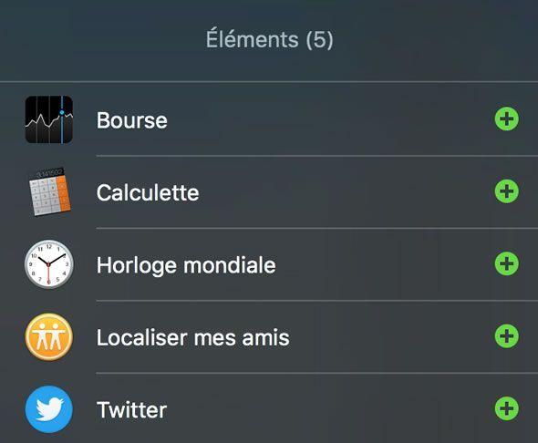 Capture d'écran - Ajout du widget Twitter Mac