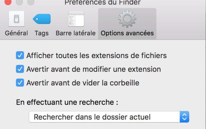 Capture d'écran - Préférences du Finder, MacOS X El Capitain