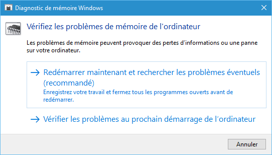 Utilitaire de diagnostic de mémoire vive sous Windows