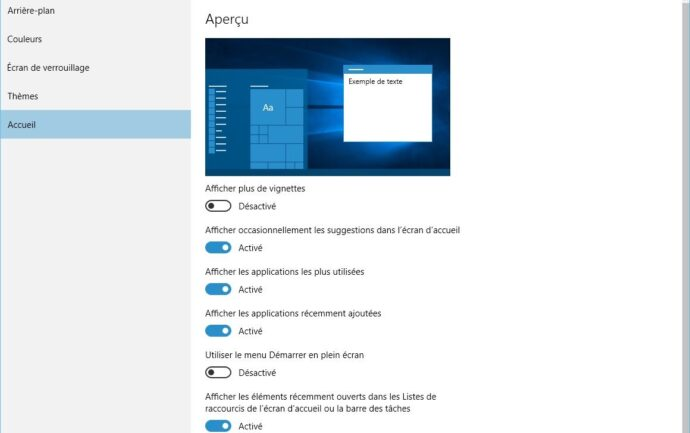 Capture d'écran - Options de personnalisation de Windows 10