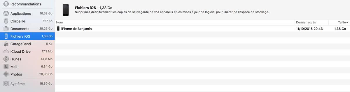 Capture d'écran - Fichiers iOS, Gestion du stockage (Mac OS Sierra)