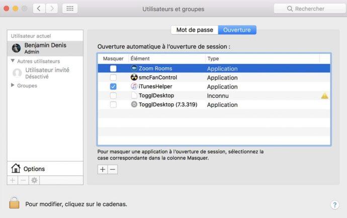 Capture d'écran - Ouverture, Utilisateurs et groupes, MacOS Sierra