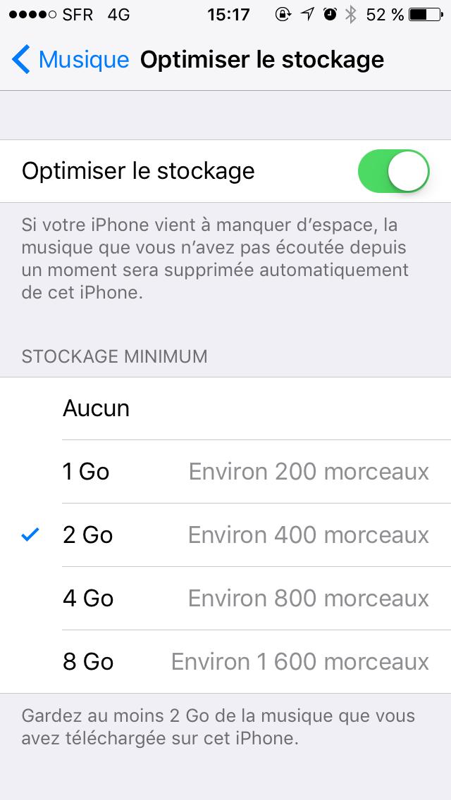 Capture d'écran - Cache Apple Musique, iOS 10