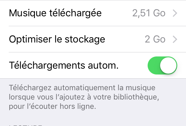 Capture d'écran - Optimisation du stockage, iOS 10