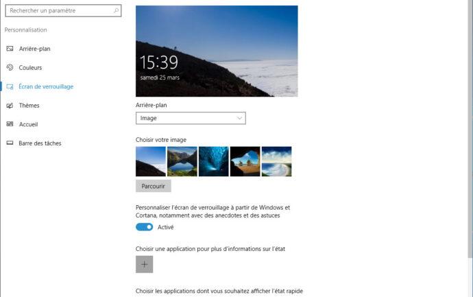 Capture d'écran - Paramètres de l'écran de verrouillage de Windows 10