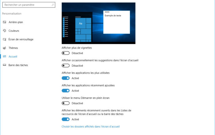 Capture d'écran - Paramètres du menu démarrer de Windows 10