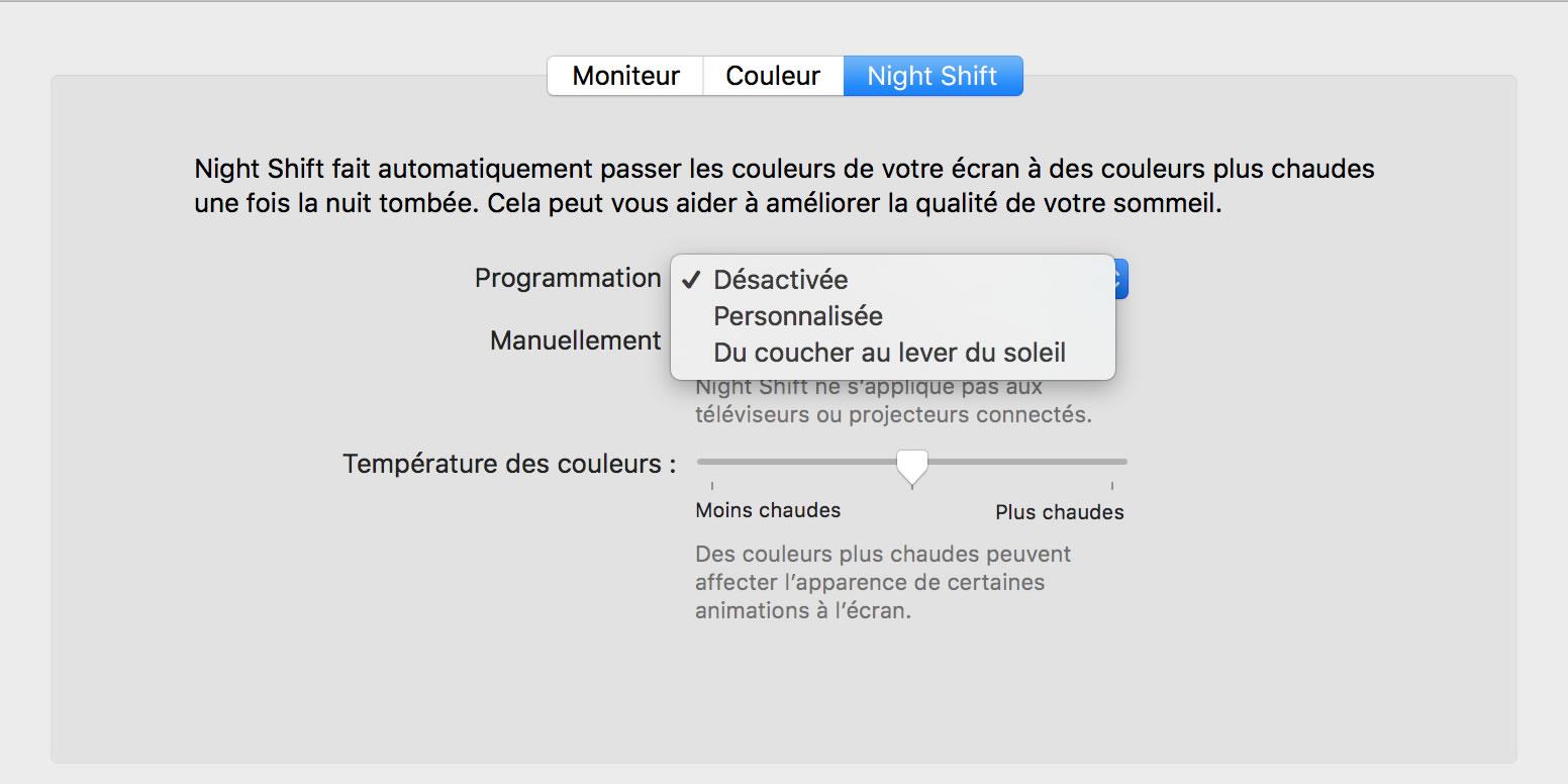 Capture d'écran - Options de Night Shift, Préférences système