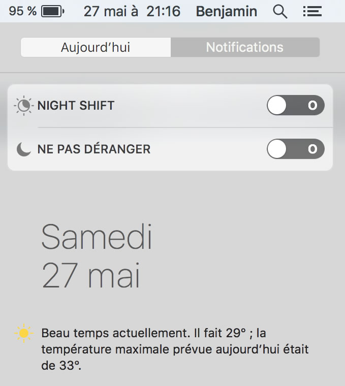 Capture d'écran - Night Shift depuis le Centre de Notifications, Mac OS