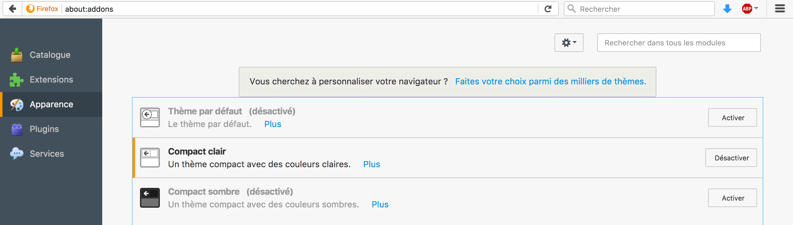 Capture d'écran - Apparence, Firefox