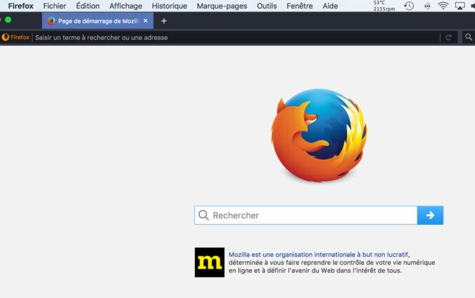 Firefox, thème visuel sombre