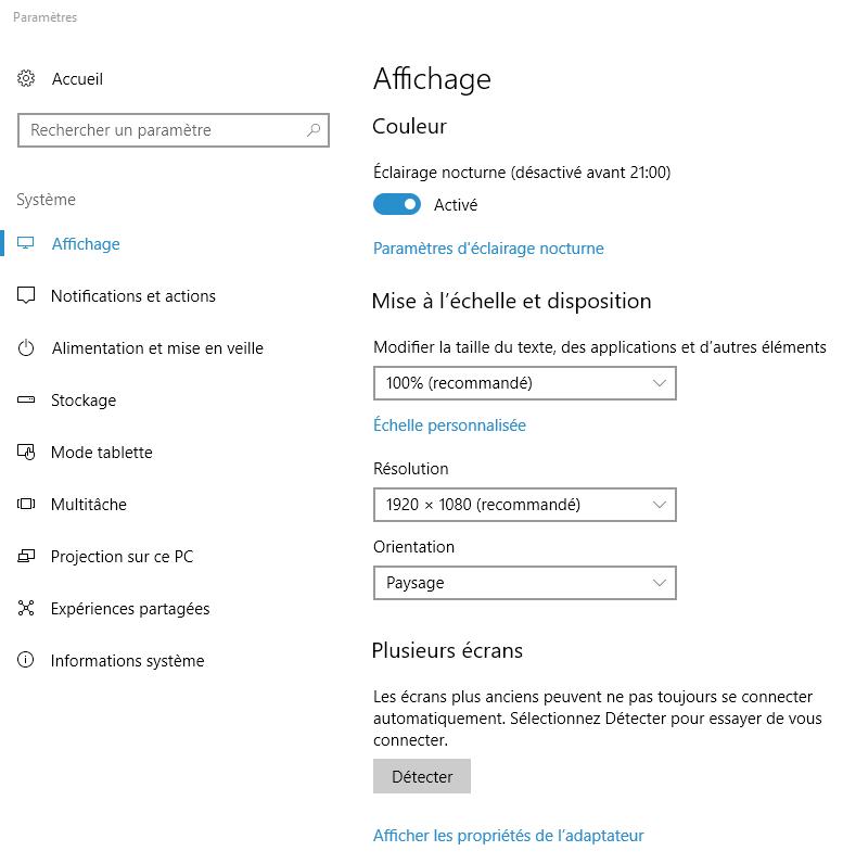 Capture d'écran - Paramètres d'affichage du système, Windows 10