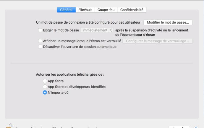 Capture d'écran - Nouvelle option, Autoriser les apps depuis n'importe où, Préférences système