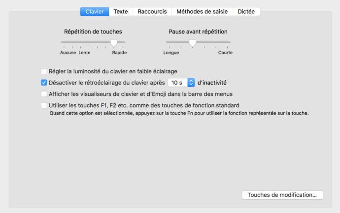 Capture d'écran - Paramètres du clavier, Préférences système MacOS