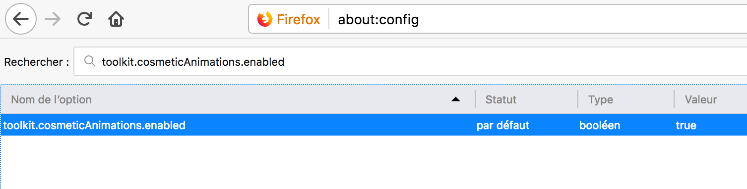 Capture d'écran - about:config de Firefox