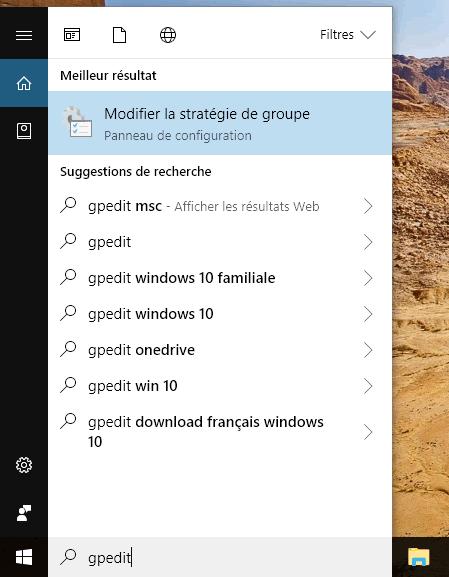 """Capture d'écran - menu recherche """"gpedit"""" sous Windows 10"""