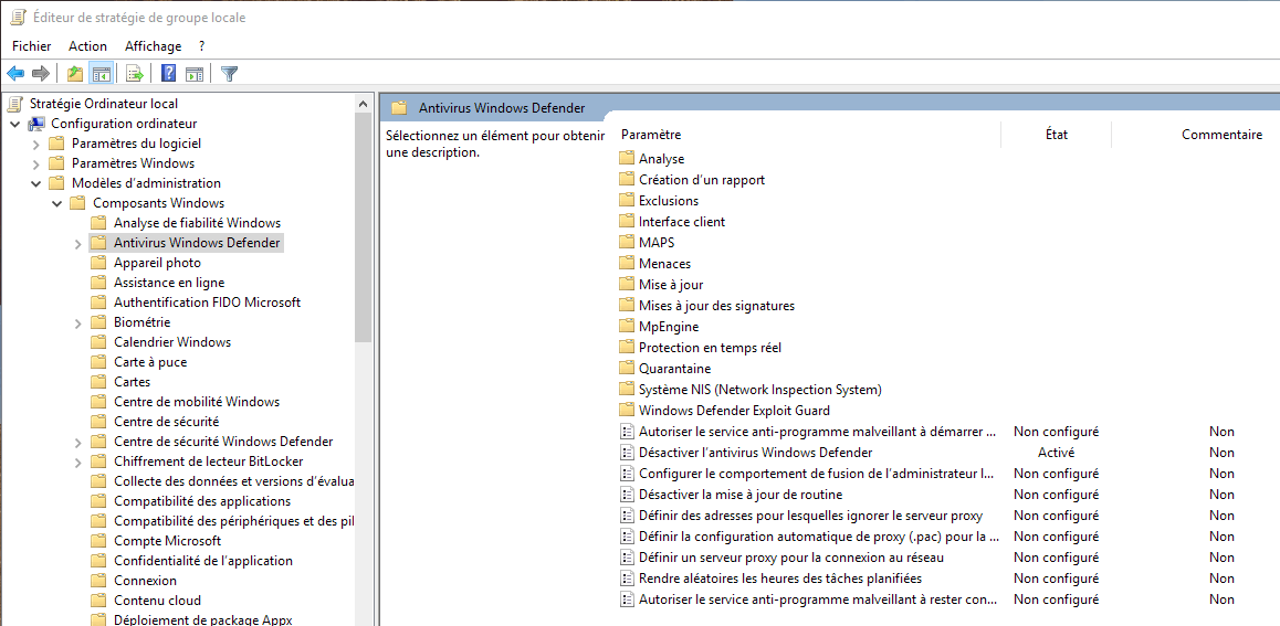 Capture d'écran - Éditeur de stratégie de groupe locale sous Windows 10