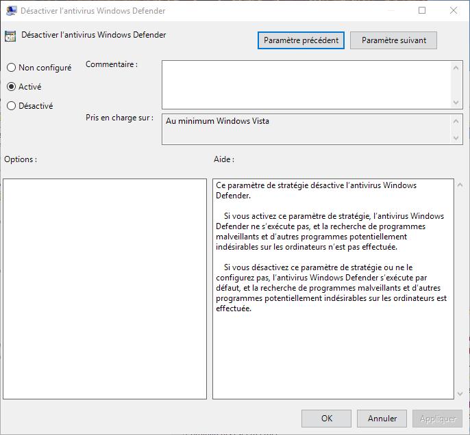 Capture d'écran - Désactivation de Windows Defender sous Windows 10
