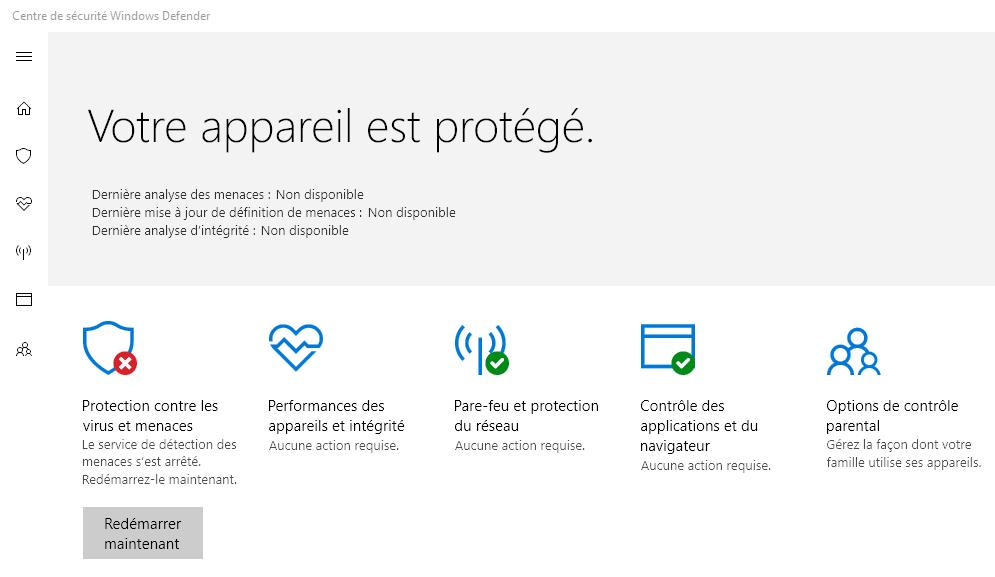 Capture d'écran - Windows Defender sous Windows 10