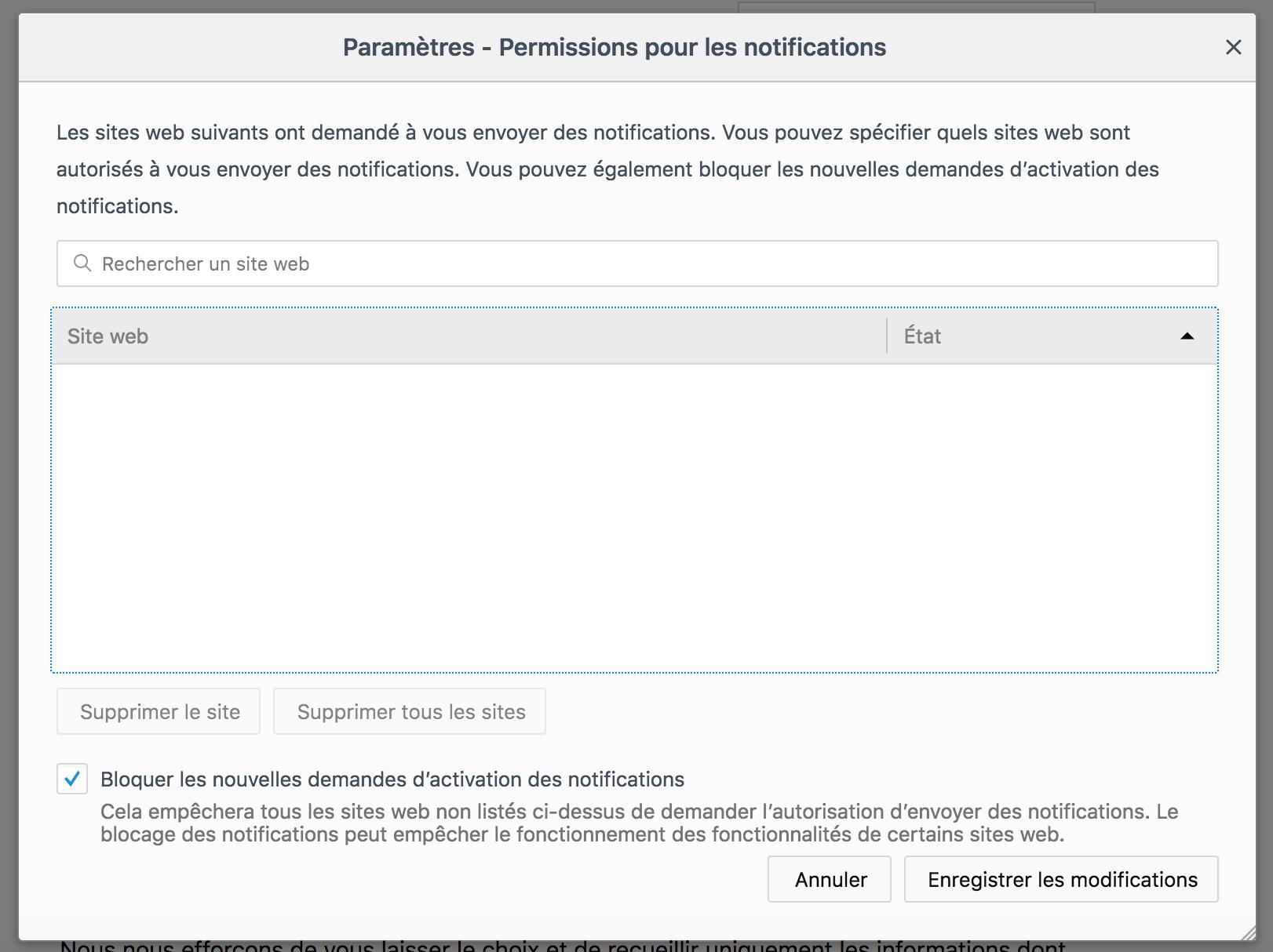 Capture d'écran - Paramètres des notifications push sous Firefox