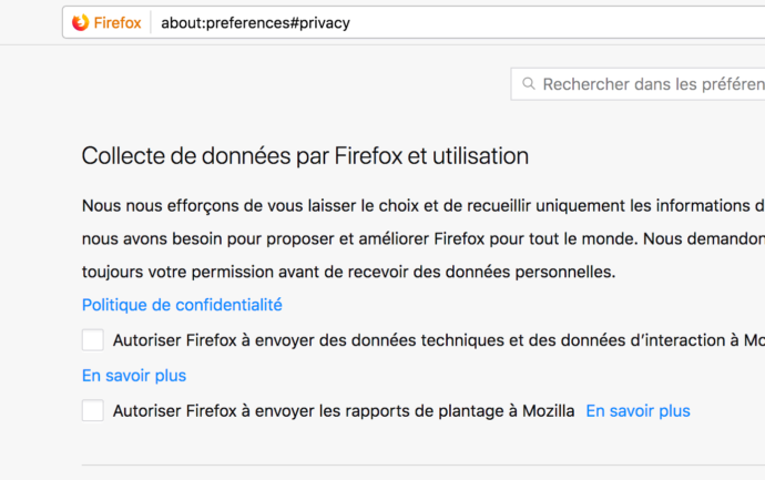 Capture d'écran - Options de vie privée de Firefox Quantum