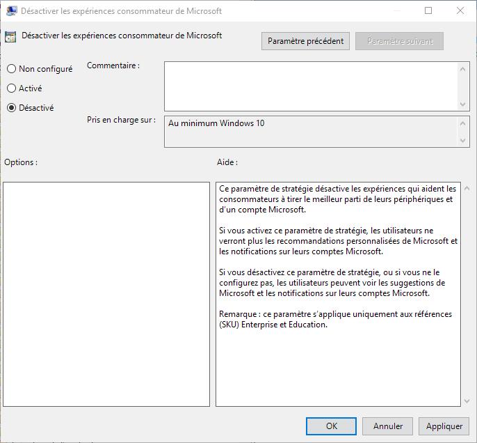 Capture d'écran - Désactivation des expériences consommateur de Microsoft, Editeur de stratégie de groupe locale, Windows 10