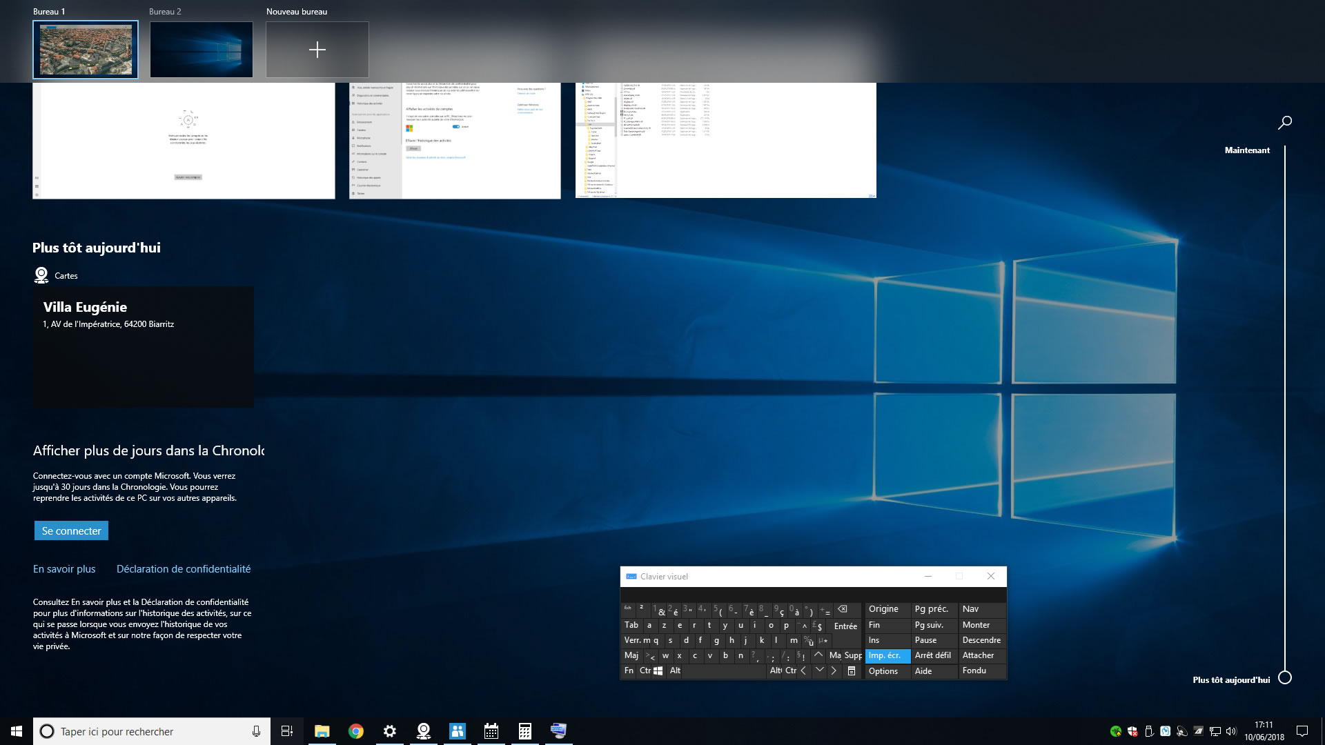 Capture d'écran - Timeline de Windows 10