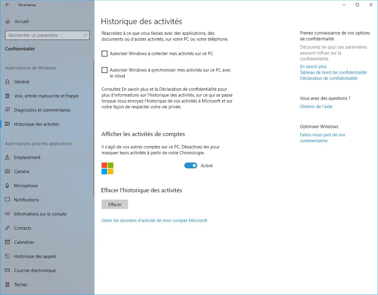 Capture d'écran - Réglages de l'historique des activités sous Windows 10