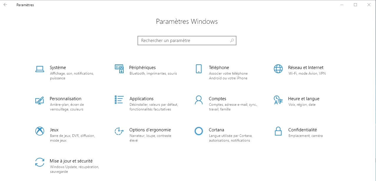 Capture d'écran - Panneau de configuration de Windows 10