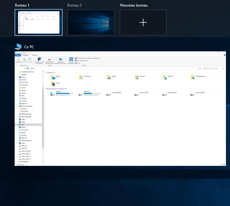 Capture d'écran - Affichage des tâches de Windows 10