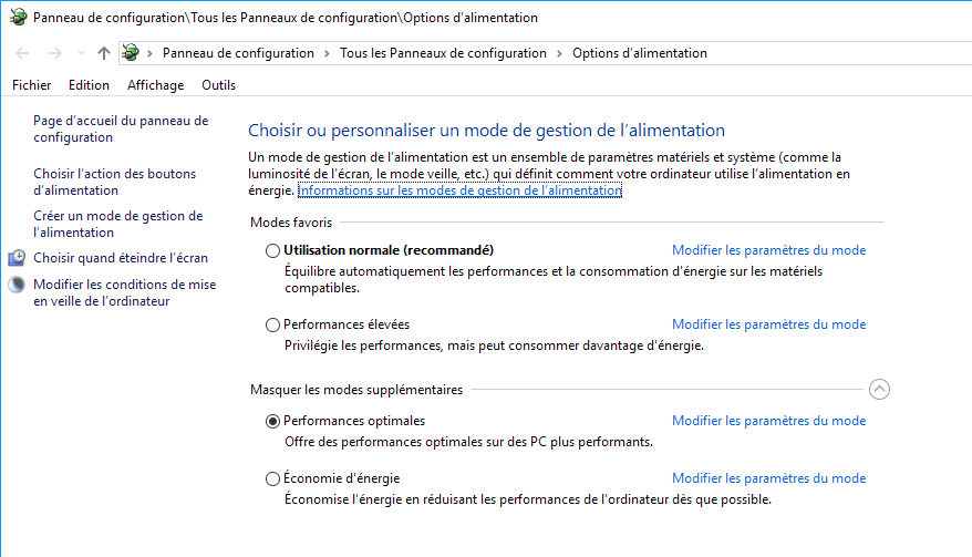 Capture d'écran - Options d'alimentation, Windows 10
