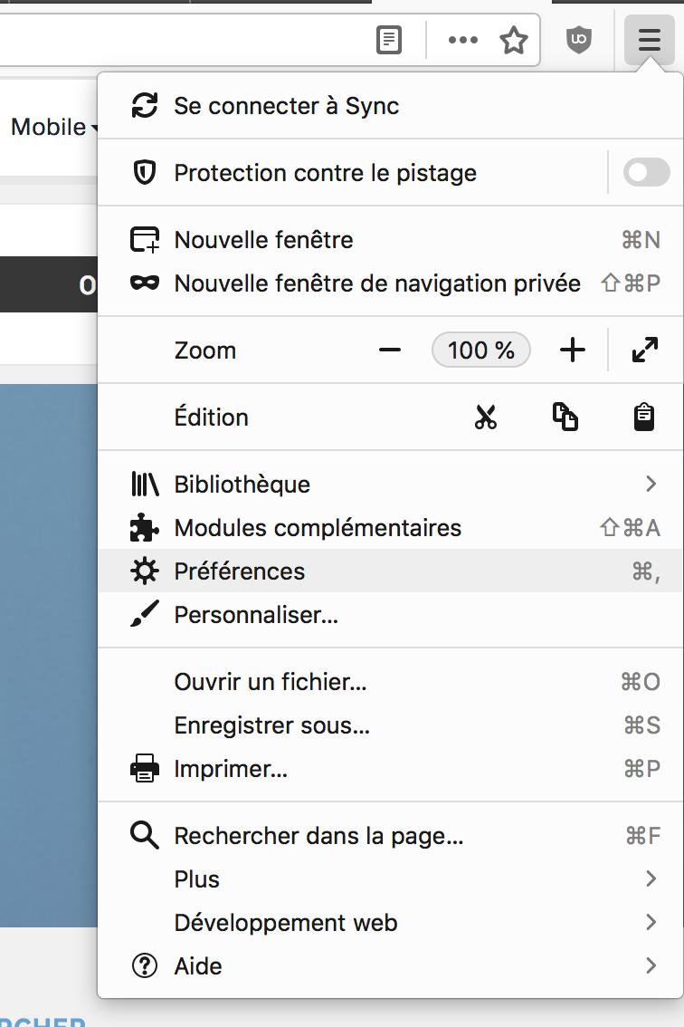 Capture d'écran - Menu principal de Firefox