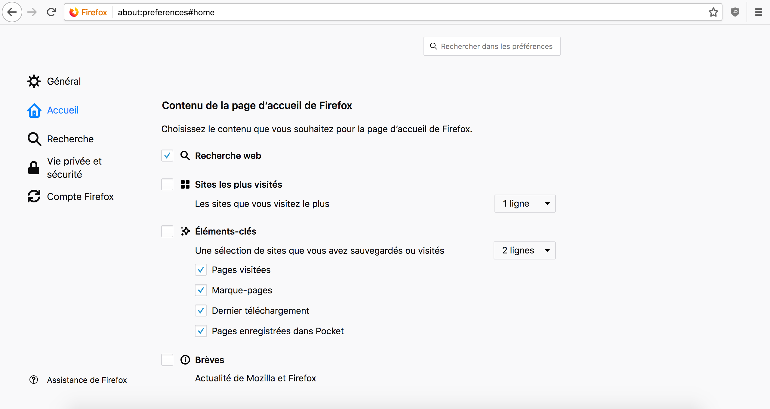 Capture d'écran - Options d'accueil de Mozilla Firefox