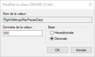 Capture d'écran - Edition de la valeur FlightSettingsMaxPauseDays, Windows 10