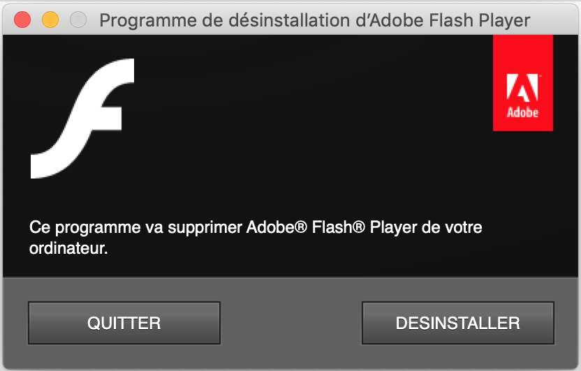 Capture d'écran - Programme de désinstallation de Flash Player