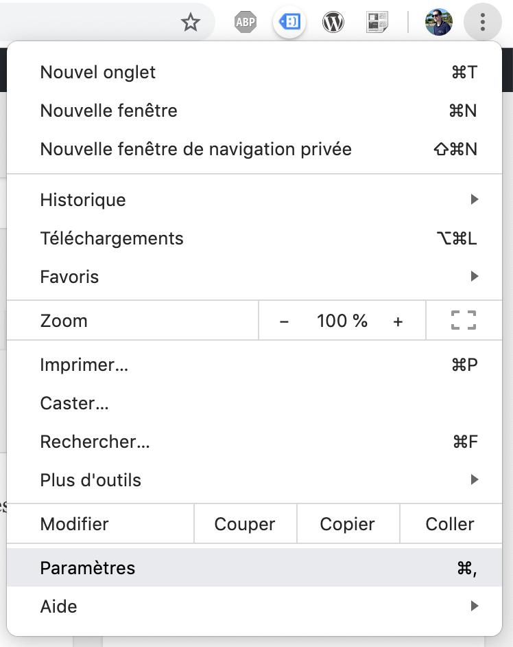 Capture d'écran -menu principal de Google Chrome