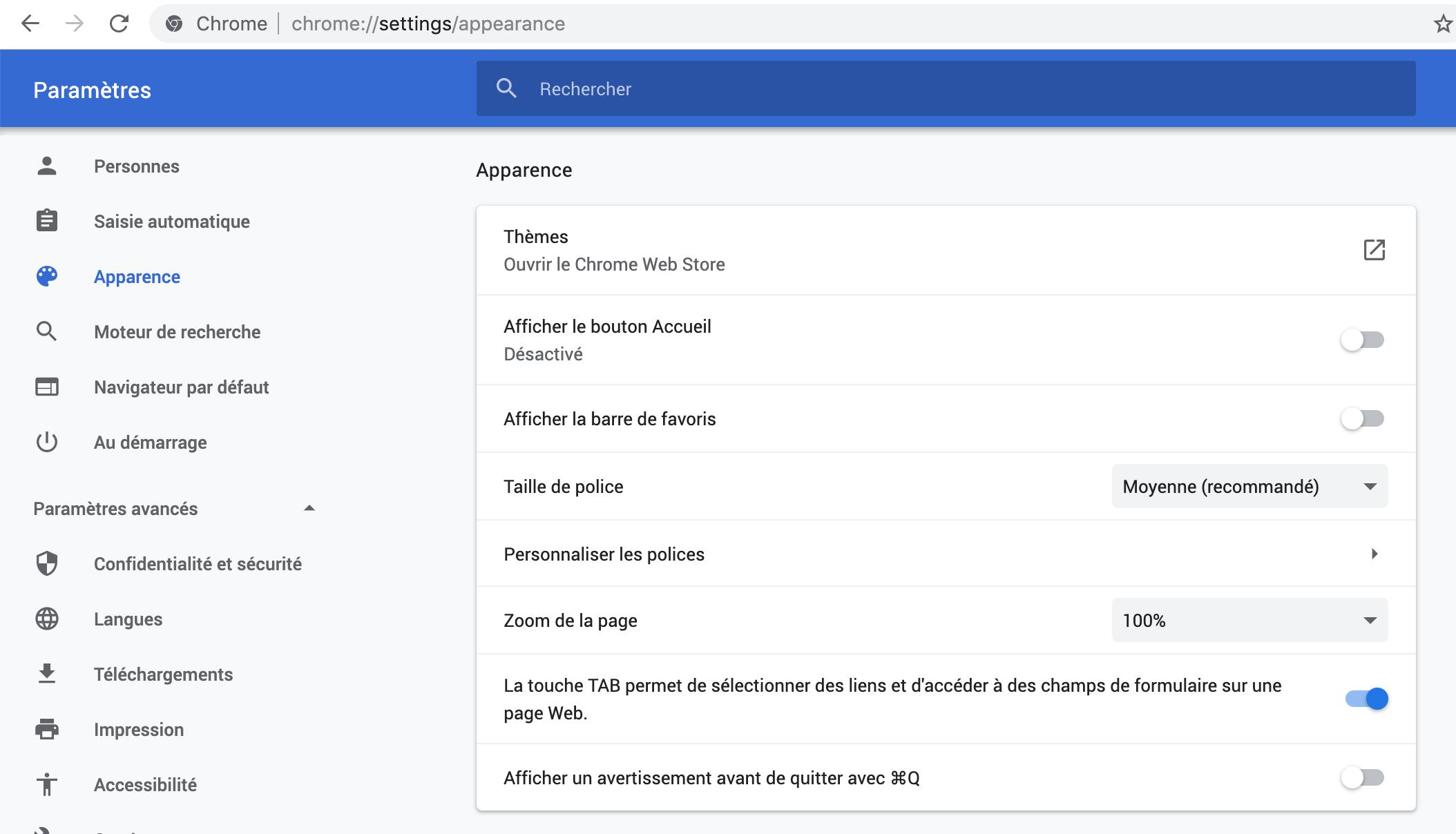 Capture d'écran - Options d'apparence de Google Chrome
