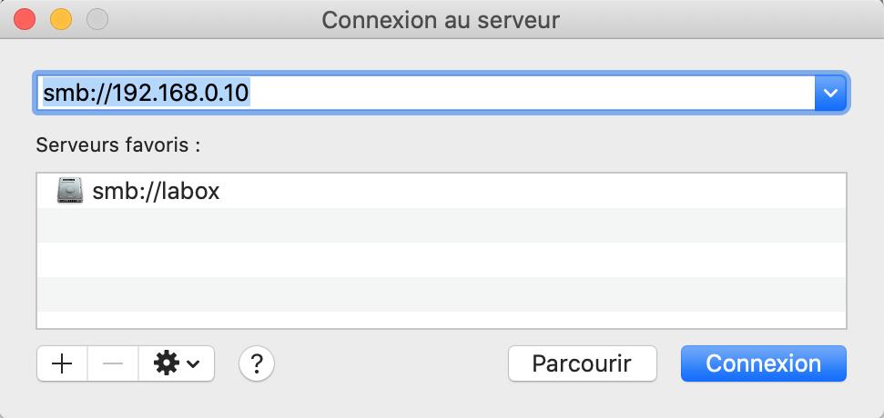 Capture d'écran - Connexion au serveur, Finder, MacOS
