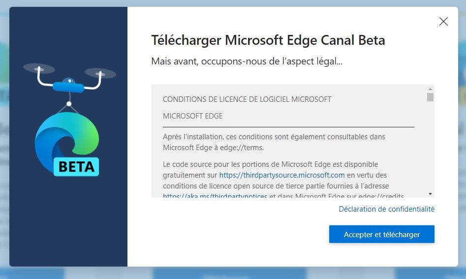 Capture d'écran - Télécharger MS Edge 2020 - Canal Beta