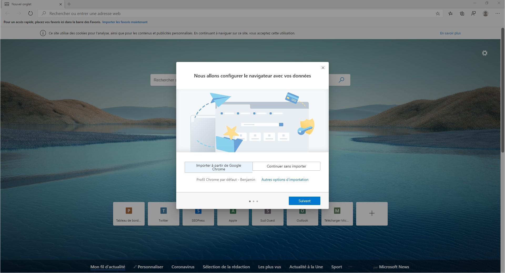 Capture d'écran - Visite guidée de Microsoft Edge 2020