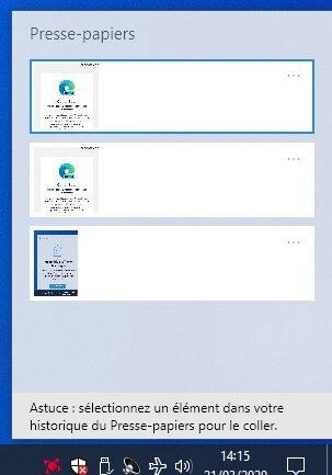 Capture d'écran - Presse-papiers sous Windows 10